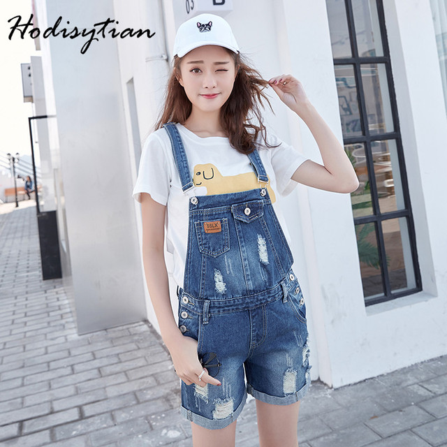 Hodisytian New Fashion Women Summer Shorts Curl Denim Ripped Harem Punk Style Jeans Overalls Slim Trousers Casual Straight Hot