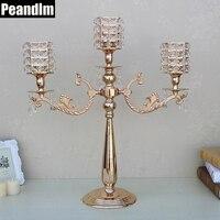 PEANDIM Gold Metal Candle Holder Candelabra Christmas Celebration Flower Holder Floor Wedding Centerpieces Table Decorations