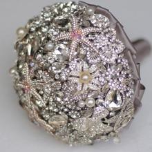 8-inch custom bridal bouquet,Silver brooch bouquet, diamond starfish beach wedding bouquet sea star