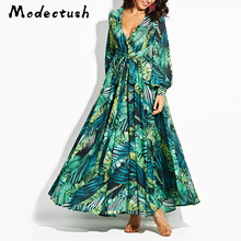 MODECRUSH Women 2019 Summer Maxi Dress Bohemian Ladies Floral Flower Shirt V Neck Long Dresses Vacation Sleeve Lace
