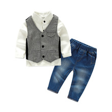 New Gentleman kids Clothes Long Sleeve Shirt+Vest+Jean Pants And Tie Party Baby Boys Clothes New Boys Clothing 3pcs/Set 2018