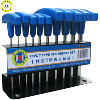 C MART Tools 10 Pcs T type Handle Hex Key Set Metric 2.00mm 10.0mm Wrench Sets Non slip Multifunctional Wrenches Hand Tools