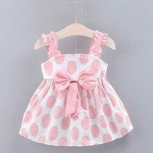 Летнее платье для маленьких девочек с бантом на бретелях и принтом в горошек платье для маленьких принцесс платье для маленьких девочек летняя одежда 2 цвета