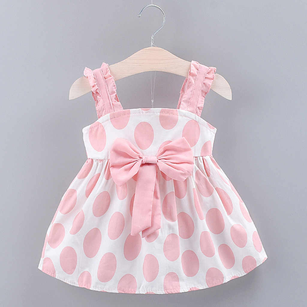 Toddler 2019 Baby Girls Kids Strap Bow Dot Print Summer Dress Princess Dresses infant baby girls dress summer clothes 2 colors