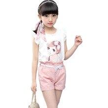 все цены на Girls Suits 2019 New Summer Children Clothing Lace Sleeveless Print Vest+Shorts 2Pcs Set Girls Clothes онлайн