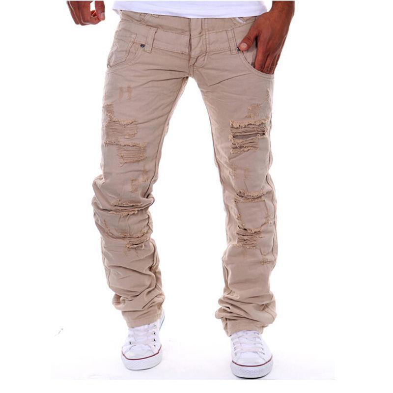 Fashion Men 2017 New Summer Designed Hole Zipper Fly Straight Slim Fit Biker Jeans Pants Skinny Cotton Trousers