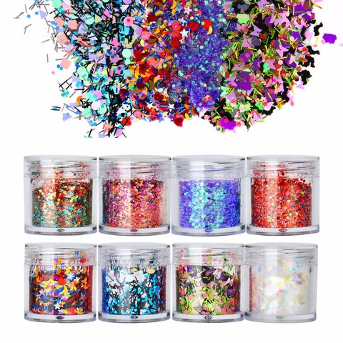 8 Boxes Mix Shape Colorful Holographic Nail Glitter Sequins 3D Glass Nail Art Foils Flakes Aurora Colorful Manicure Decoration Lahore