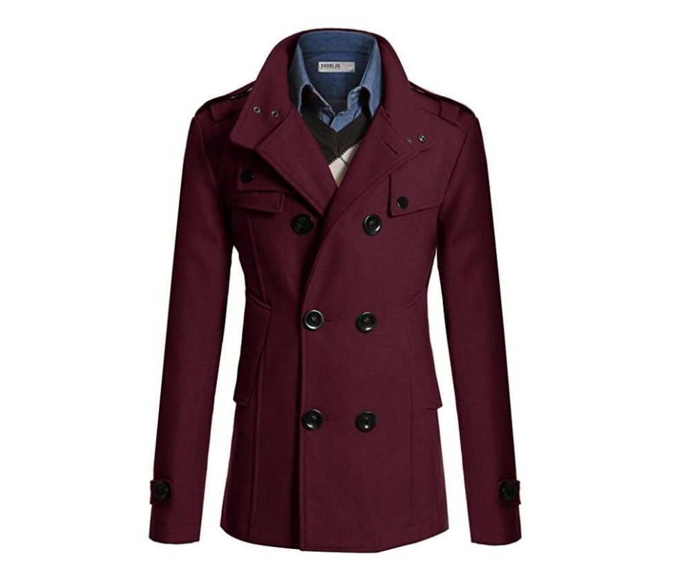 Europe America autumn and winter mens woolen cloth jacket coat business casual double-breasted wool coat windbreaker jacket