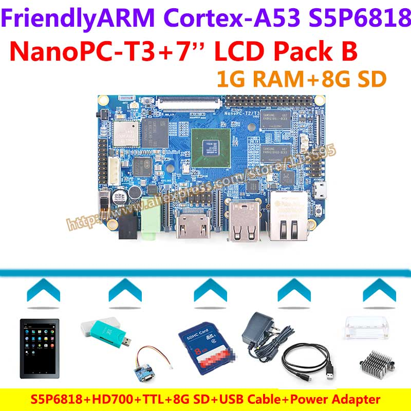 S5P6818 Octa-Core Cortex-A53 NanoPC-T3+7inch LCD+TTL+8GB SD+USB Cable+ Power+Heat sink+Case+Card reader=NanoPC T3 Package B