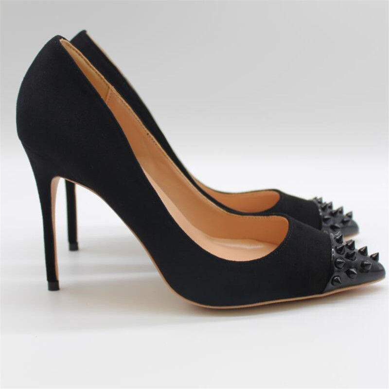 Free shipping fashion women Pumps lady Black studded spikes Pointy toe high heels shoes size33 43 12cm 10cm 8cm Stiletto heeled in Women 39 s Pumps from Shoes