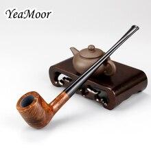 Pipa de madera de brezo de alta calidad, pipa para fumar con filtro de 3mm hecha a mano, pipa para fumar de 17cm de largo y recta, juego de herramientas gratis