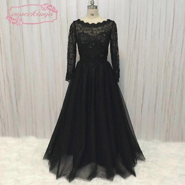 SuperKimJo Detachable Skirt Evening Dresses Long Long Sleeve Black Lace  Applique Rhinestones Formal Dresses Vestido De Festa 4923a95c3995