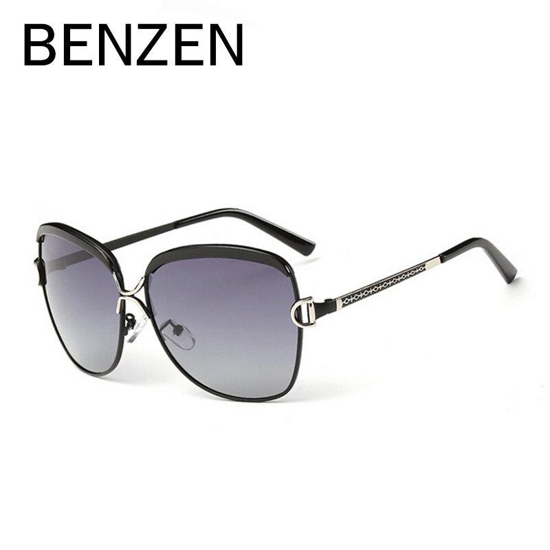 BENZEN Luxusní polarizované sluneční brýle Ženy s velkými slunečními brýlemi Dámské retro čočky De Sol De Sol Femininos s pouzdrem 6115