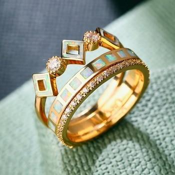 3797c753f761 ZHE FAN de lujo AAA CZ Cubic Zirconia Anillo del ópalo del fuego de la  corona de la reina de Color oro plateado anillos de 3 piezas para mujer  fiesta de ...
