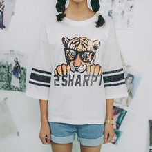 f897af6f914 Striped Tiger Letter Print Cotton T Shirt Women Casual Streetwear Three  Quarter O Neck 2018 Spring Summer Tops Female