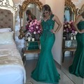 Dark Green Lace Mermaid Evening Dresses 2017 Sweetheart Beaded Appliques Wide Straps Long Formal Prom Dress Party Gowns EF52