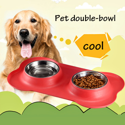 2 In 1 Use Pet Bone Shape Double Bowl Silicone Non-slip Mat Stainless Steel Bowl Water Food Storage Container  Cat Dog Feeding