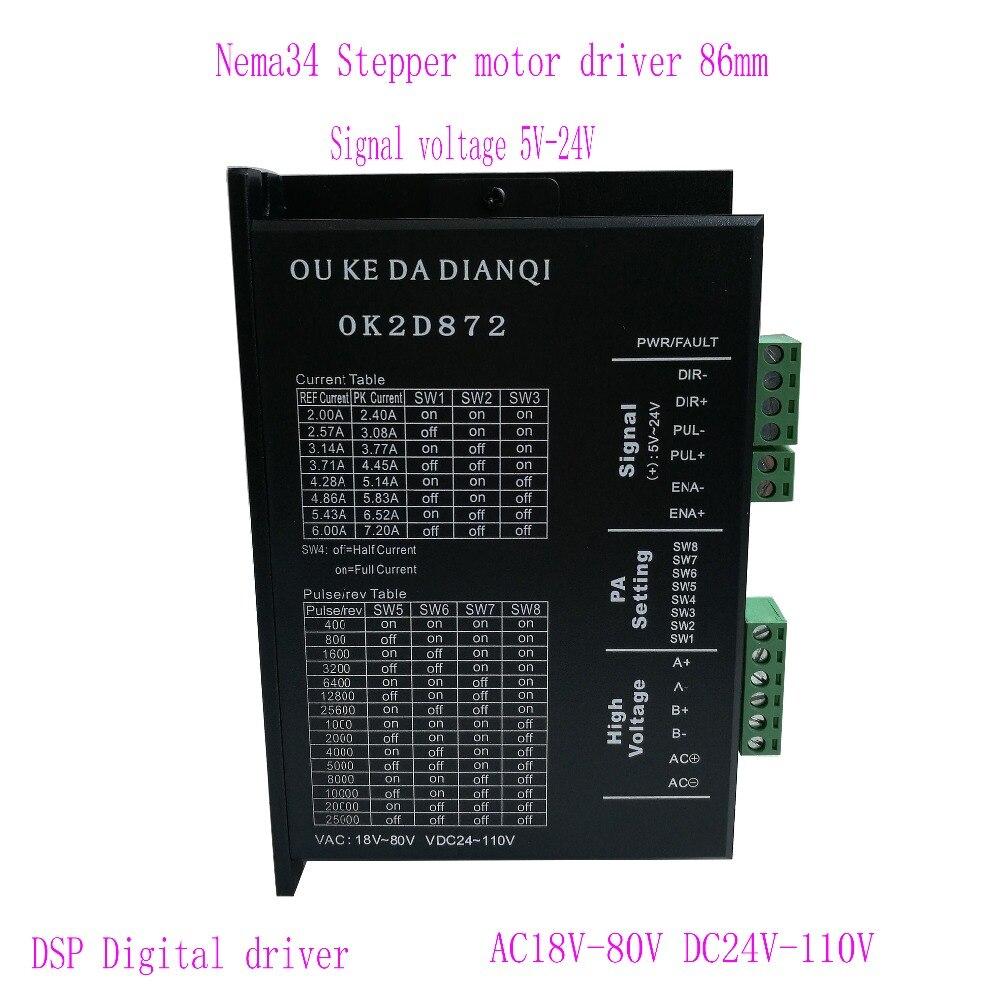 цена на Stepper motor Driver ok2d872 2.4-7.2A 24V-110V DC Microstep 256 motor driver instead of MA860H for NEMA23 NEMA34 stepper motor!