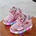 2017 Девушки Shoes Baby Fashion Hook Loop Led Shoes Kids Light Up Светящиеся Кроссовки Маленьких Девочек Принцессы Детей Shoes С свет