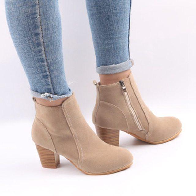Vertvie Ayakkabı Kadın Kadın Çizme XL Süet Çizmeler Kadın Patik Çıplak Çizmeler Ile Kalın Kadın Patik bileğe kadar bot Kadınlar Için