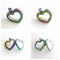 2333cacfa45b 5pcs 10pcs Heart Shape Floating Locket Rainbow Color Magnetic Glass  Necklace Pendant Fit For Floating Memory