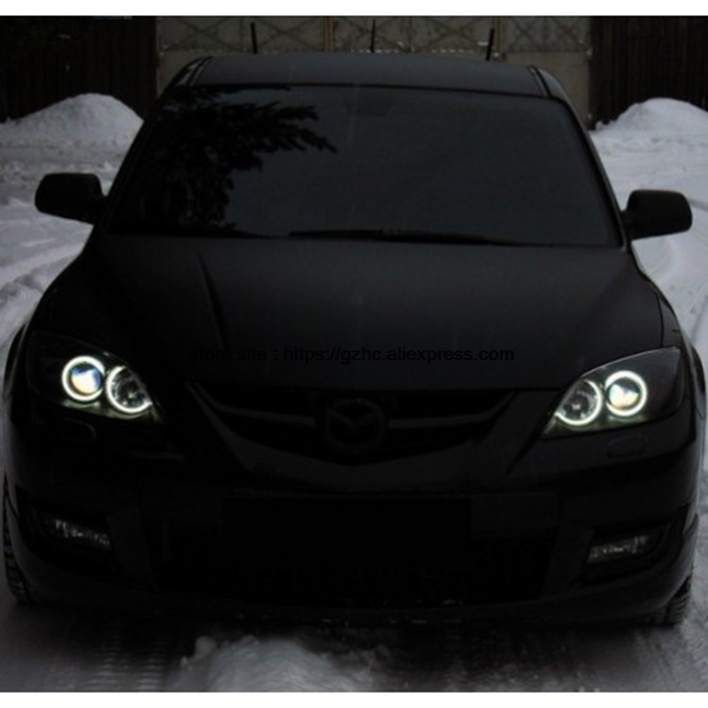 For Mazda 3 mazda3 2002 2003 2004 2005 2006 2007 Ultra Bright Day Light DRL CCFL Angel Eyes Demon Eyes Kit Warm White Halo Ring hochitech white 6000k ccfl headlight halo angel demon eyes kit angel eyes light for vw volkswagen golf 5 mk5 2003 2009