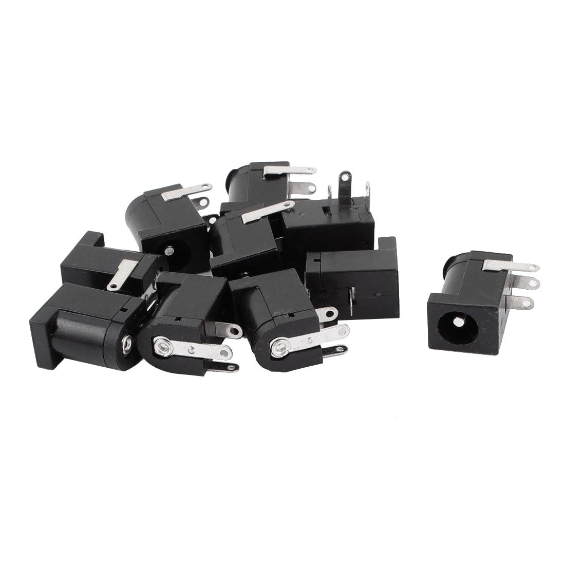 10pcs 3 Pin PCB Mount 5 5x2 1mm Female DC Power Jack Socket Connector