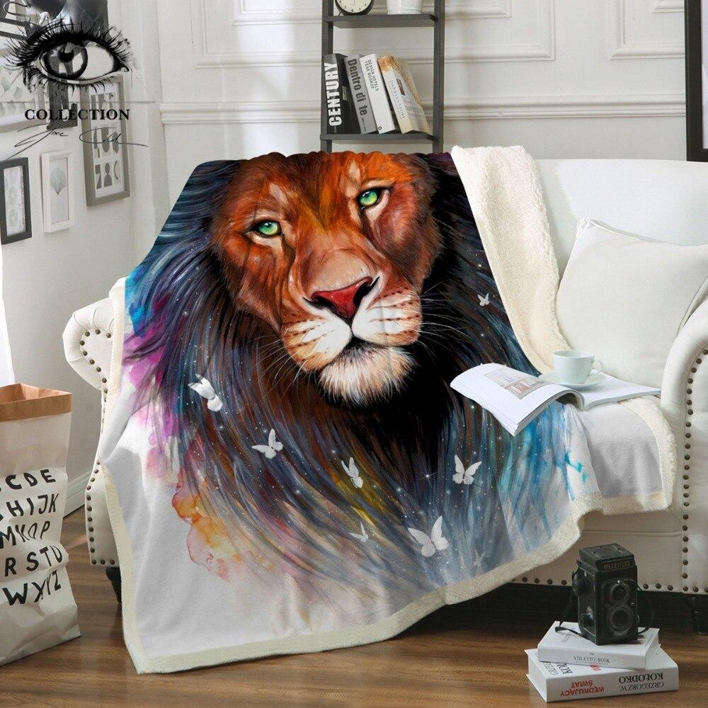 Recuerdos por Pixie frío arte Leones de manta de terciopelo de Tribal Animal manta acuarela Hippie ropa de cama 150x200 cm
