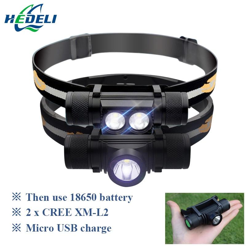 USB led del faro del cree xm l2 faro 18650 batteria ricaricabile Testa della torcia elettrica della torcia ha condotto la luce testa luce di campeggio impermeabile