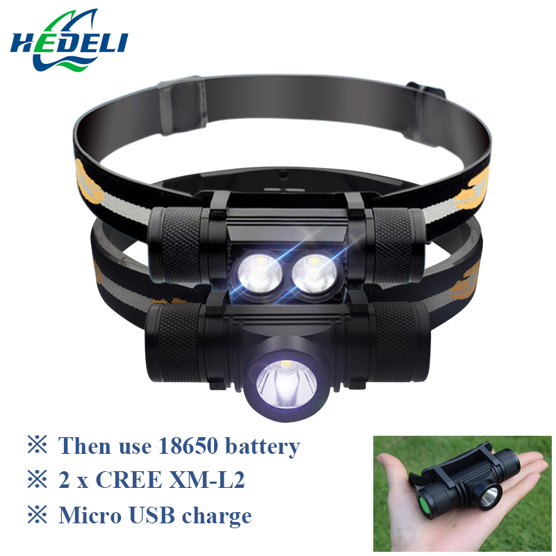 USB led cree xm l2 linterna 18650 batería recargable linterna led luz principal impermeable camping Luz