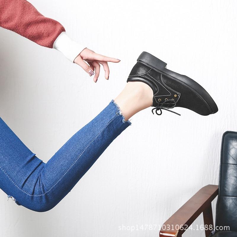 Fondo Cuero chocolate Goma alpargatas Mujeres 2018 Encaje Preppy De Genuino Mujer Oxford Holgazán Señoras Negro Zapatos T5gYq