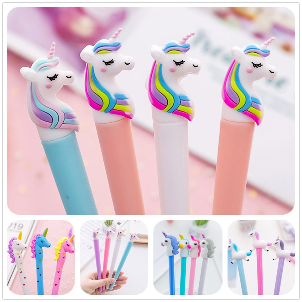 Creative Unicorn Series Gel Pen Cute Kawaii Signature Pen Escolar Papelaria For Office School Writing Supplies Stationery Gift