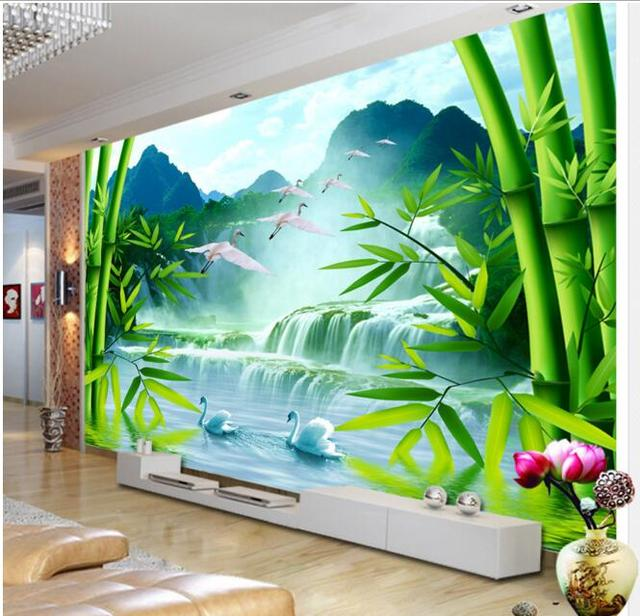3d Wallpaper Custom Mural Non Woven Wall Sticker Bamboo Forest Waterfall Swan Scenery Painting