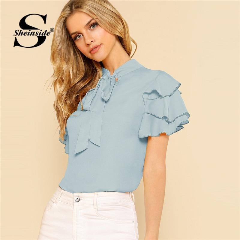 Sheinside Tie cuello en capas Flounce manga Top azul soporte de cuello de manga corta blusa mujeres verano Ruffle recortado OL trabajo tops