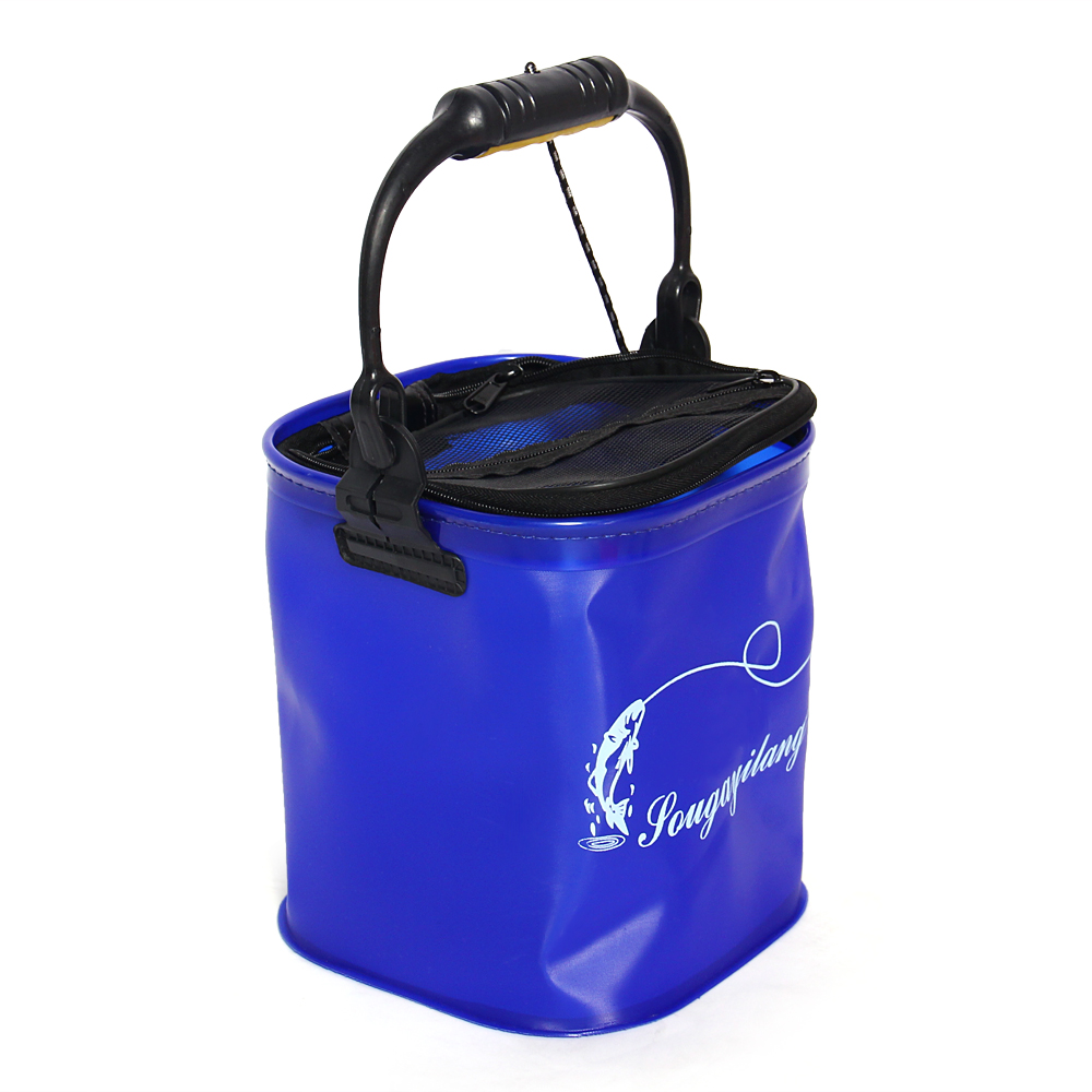 Prix pour En plein air Seau Baril Réservoir D'eau De Pêche Camping Pliable EVA Corde Ceinture De Pêche Sac Pliable Randonnée Bleu