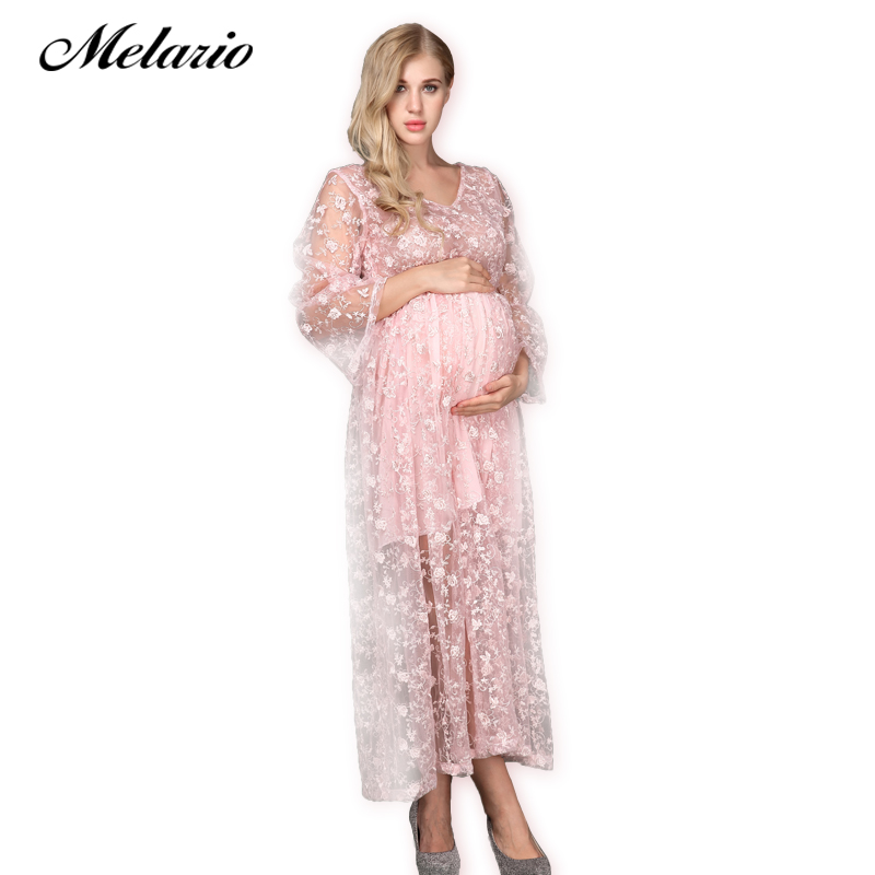 Melario Maternity dress 2018 Maternity Photography Props Maternity Floral Embroidery Dress Lace Princess Summer Pregnant Dress maternity clothing spring twinset lace fairy princess wedding one piece dress white embroidery dress full dress summer