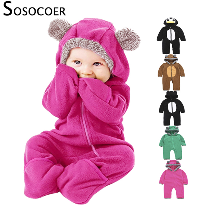 SOSOCOER Hooded Newborn   Romper   Baby Girl Infant Clothing Fleece New Born Baby Clothes Overalls Jumpsuit Bebe Warm Winter Outfit
