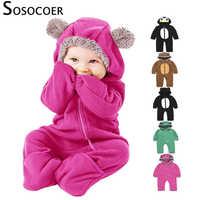 Sosocoer com capuz macacão recém-nascido da menina do bebê roupas infantis velo recém-nascido roupas do bebê macacão bebe quente roupa de inverno