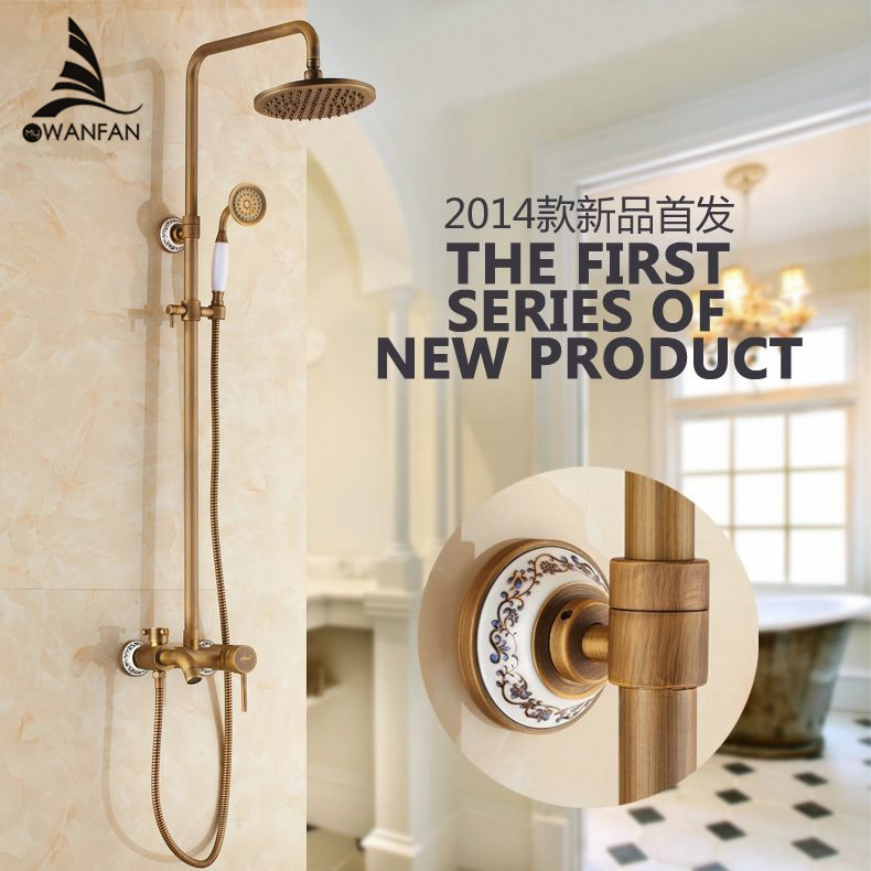 Hot selling Antique Brass Finish Bathroom Rainfall With Spray Shower Durable Brass Construction Faucet Set Free