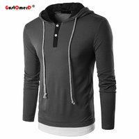 DropShipping 2018 Spring T Shirt Men Fashion Long Sleeve Button Patchwork Mens T Shirts Brand Clothing