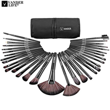 VANDERLIFE 32pcs Makeup Brushes Set Black Handle Eye Foundation Powder Eyeshadow Eyeliner Blush Brush Make Up Cosmetic Tools Kit