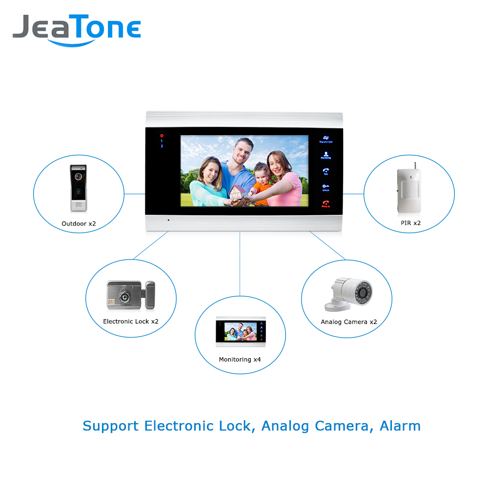 Image 5 - JeaTone 7 inch Video Door Phone Video Intercom 1200TVL Outdoor Call Panel + 1200TVL Analog Camera Access Control System Doorbellvideo intercomvideo door phonedoor phone video -