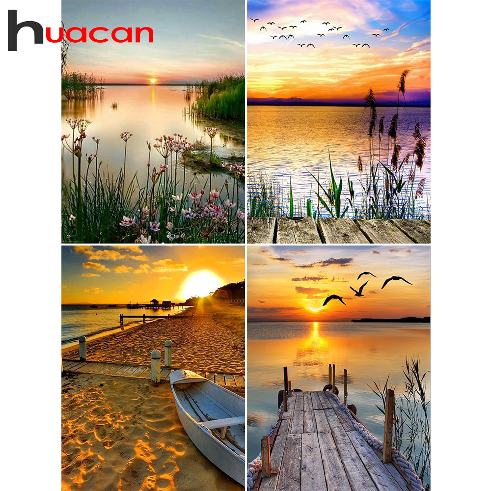 Huacan Diamond Embroidery Sale Landscape Rhinestones Pictures Diamond Painting Full Square Lake Scenery Mosaic Cross Stitch(China)