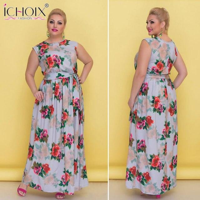 b8234895c353 5XL 6XL Plus Size Verão Mulheres Vestido Longo Partido Da Cópia Da Flor Maxi  Vestido estilo