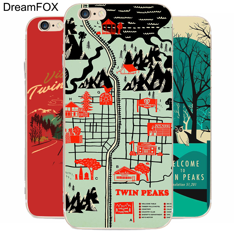 DREAM FOX K249 Twin Peaks Transparent Hard Thin Case Cover For Apple iPhone 8 X 7 6 6S Plus 5 5S SE 5C 4 4S