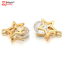 New charm five-pointed star copper micro-inlaid zircon CZ jewelry accessories suitable for bracelet necklace jewelry production