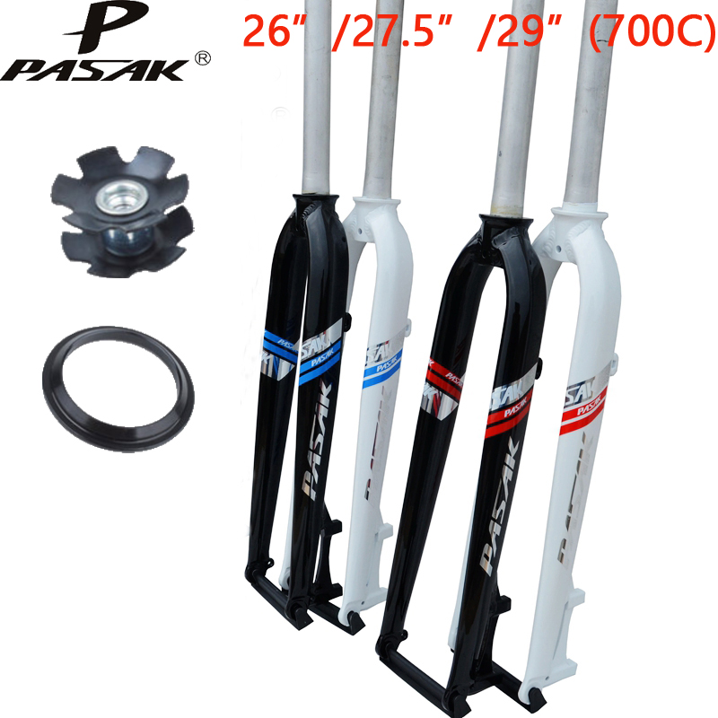 26 27.5 29 hard disc fork MTB mountain bike disc brakes aluminum bicycle front fork 700C disc road bike fork aluminum mountain road bicycle disc brakes w rotors black front rear