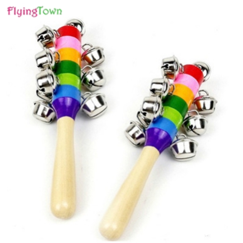 18cm Lovely Funny Baby Rattles Wooden Music Novelty Hand Shake Bell Ring Early Learning Educational Toys Rattles Toys