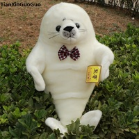 about 40cm cute white seal plush toy bowtie seal soft doll birthday gift s0093