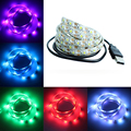 50CM 1M 2M 3M 4M 5M USB LED Strip Light DC 5V 3528 SMD IP65 Waterproof RGB Flexible tape ribbon TV Background Lighting Strip